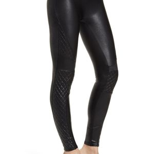 Spanx quilted black faux leather leggings